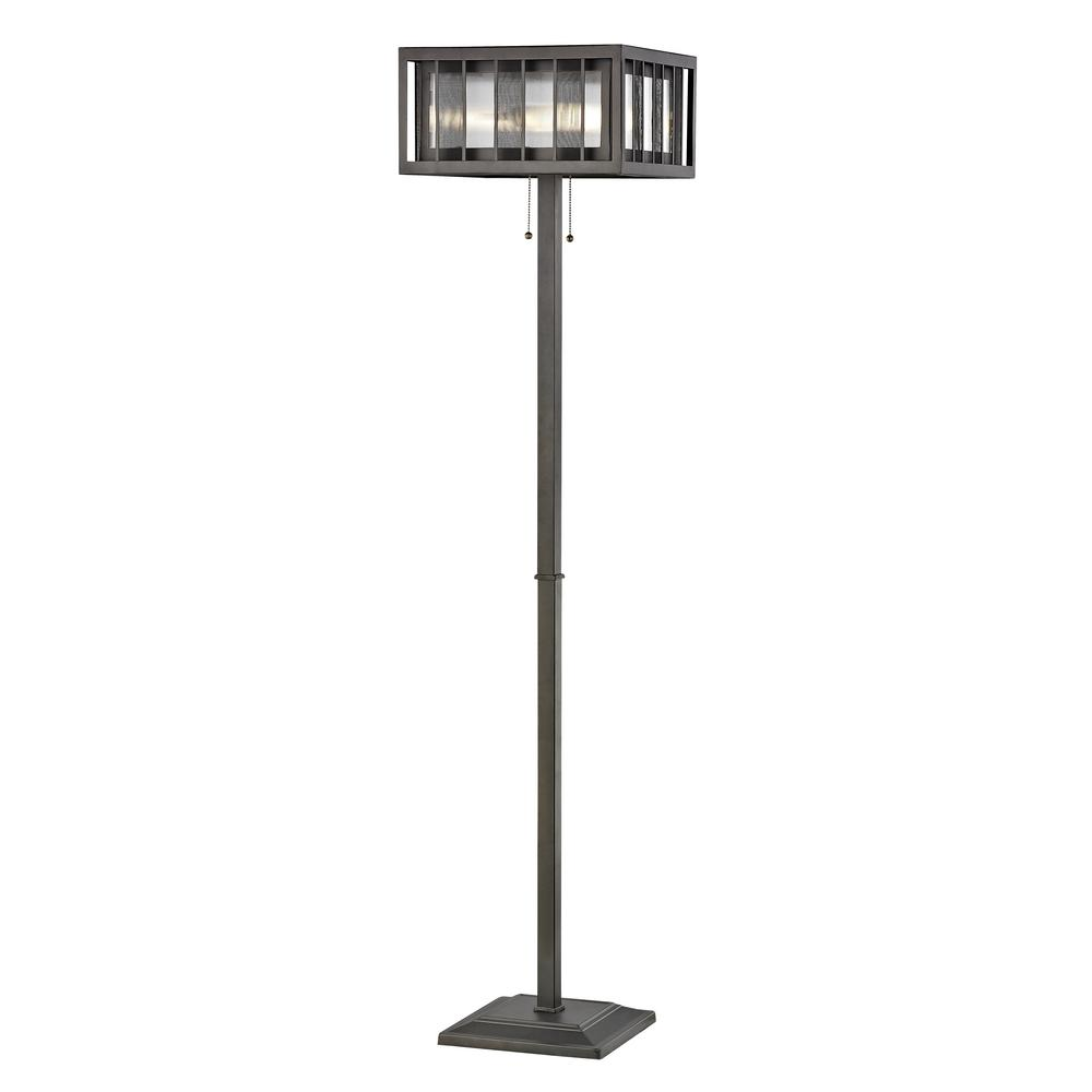 Soraya 3-Light Bronze Floor Lamp with Bronze and Clear Reeded Glass