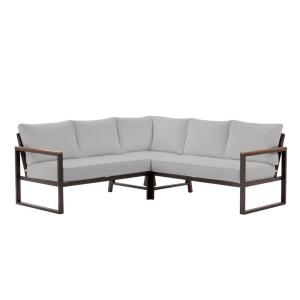 West Park Black Aluminum Outdoor Patio Sectional Sofa Seating Set with CushionGuard Stone Gray Cushions
