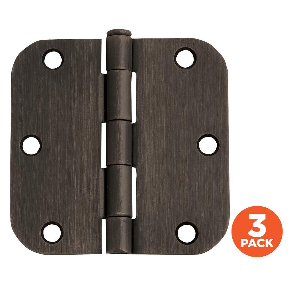 3-1/2 in. x 5/8 in. Radius Oil Rubbed Bronze Door Hinge Value Pack (3 per Pack)