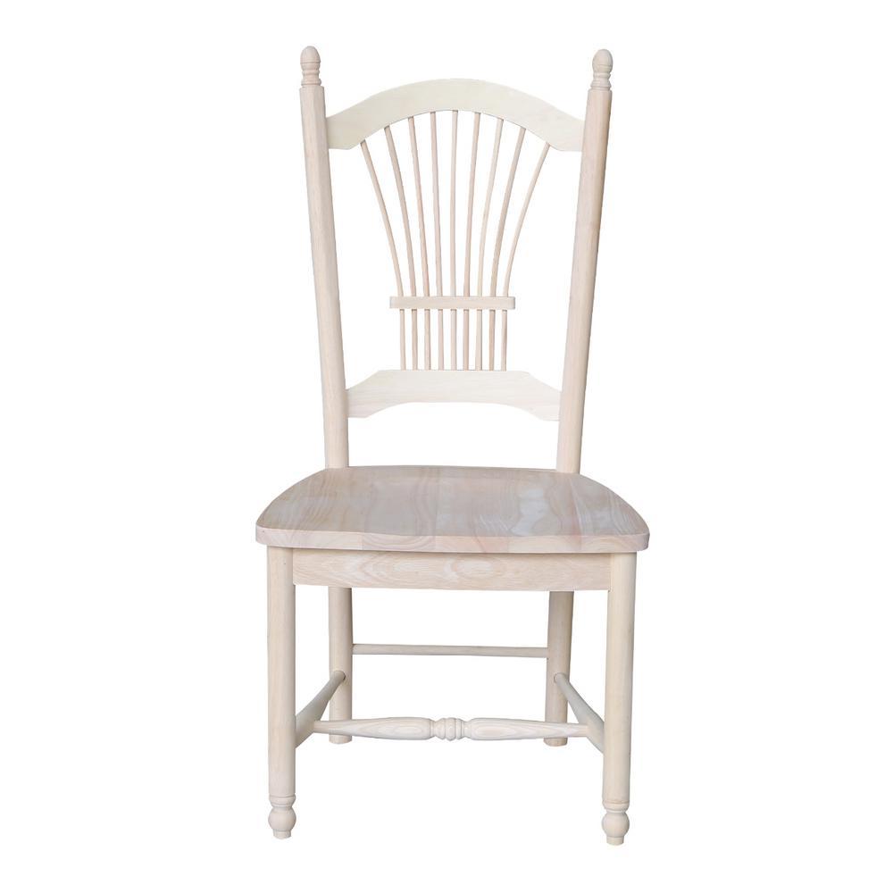 International Concepts Unfinished Wood Sheaf Back Dining Chair (Set of 2)