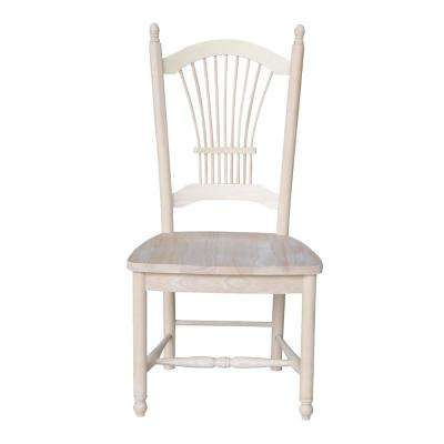 Unfinished Wood Sheaf Back Dining Chair (Set of 2)