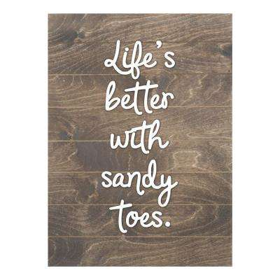Life's Better with Sandy Toes Slat Board, BROWN/WHITE LETTERS, Memo Board