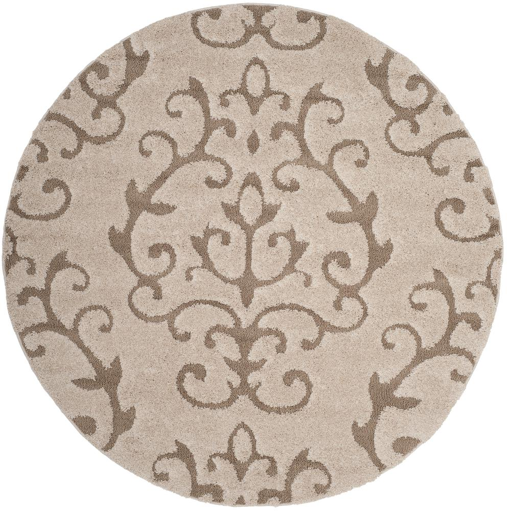 Florida Shag Cream Beige 7 Ft X Round Area Rug