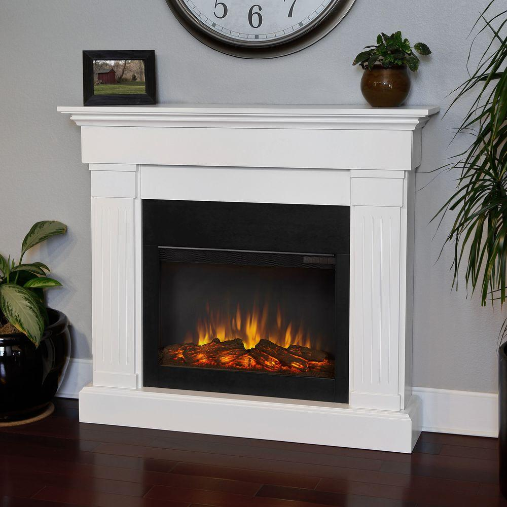 Bring a contemporary feel to your family space by choosing this Real Flame Crawford Slim-Line Electric Fireplace in White.