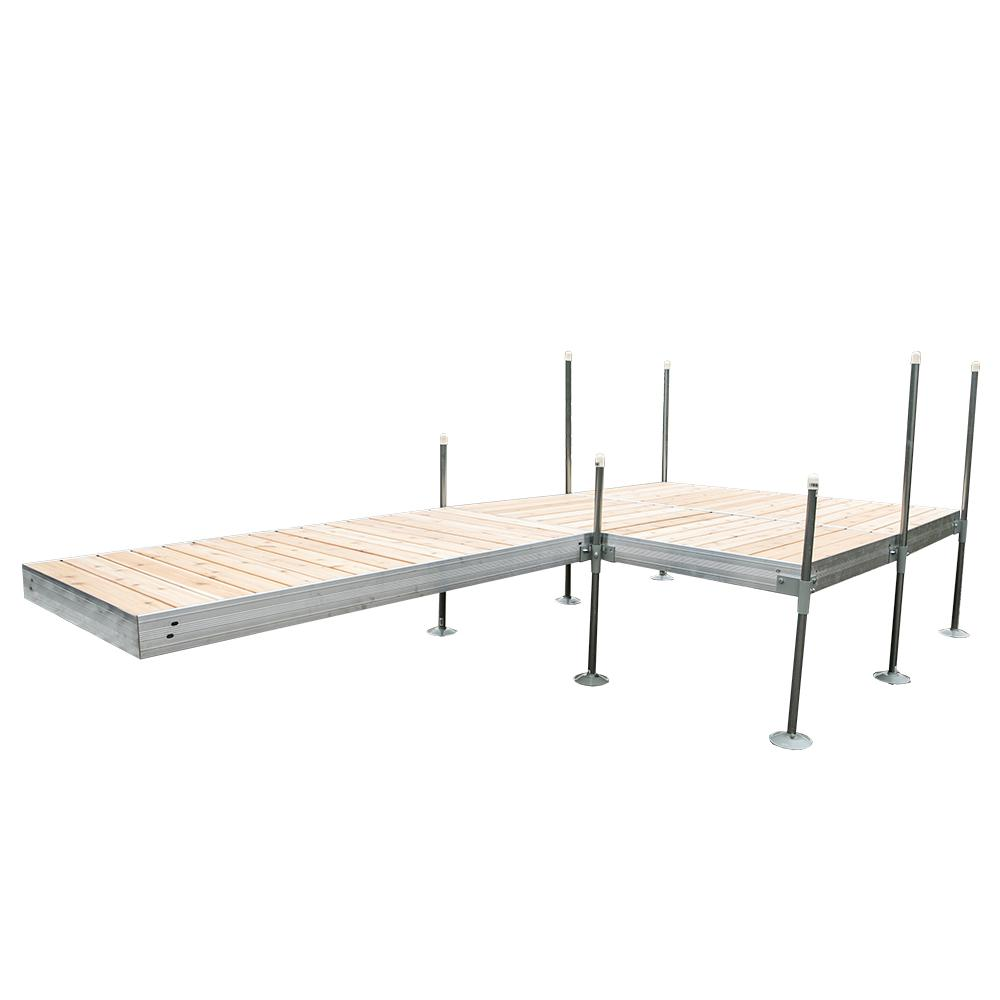 Tommy Docks 16 ft. L-Style with 8 ft. x 8 ft. Platform Section Aluminum Frame with Cedar Decking Complete Dock Package
