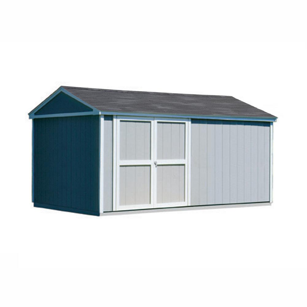 Handy Home Products Somerset 10 ft. x 18 ft. Wood Storage Building with Floor Kit