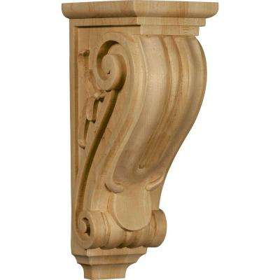 7 in. x 5 in. x 14 in. Unfinished Wood Red Oak Large Classical Corbel