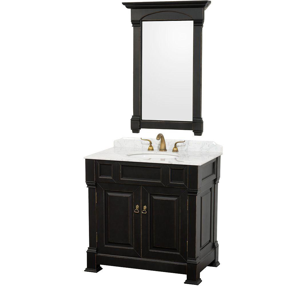 Wyndham Collection Andover 36 in. Vanity in Antique Black with Marble Vanity Top in Carrera White and Mirror