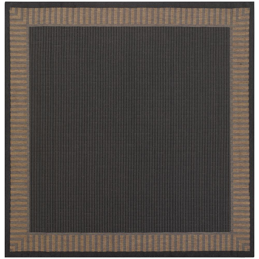 Recife Wicker Stitch Black-Cocoa 8 ft. x 8 ft. Square Indoor/Outdoor