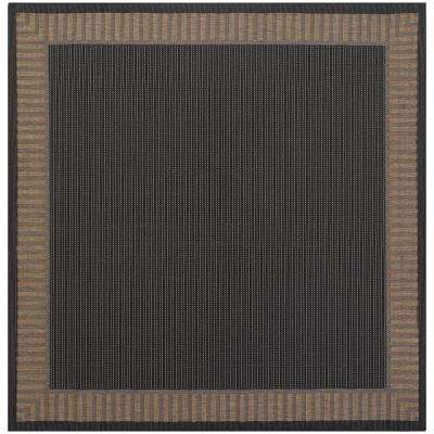 Recife Wicker Stitch Black-Cocoa 8 ft. x 8 ft. Square Indoor/Outdoor Area Rug