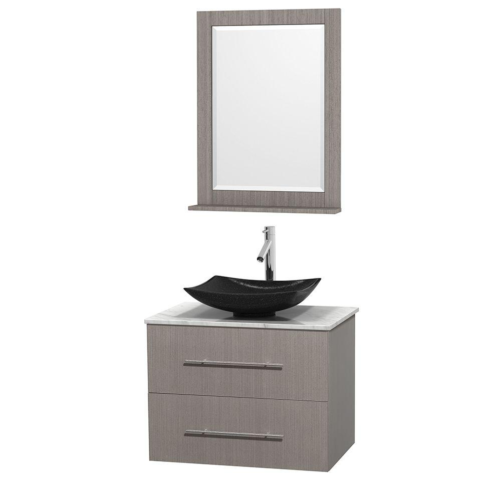 Wyndham Collection Centra 30 in. Vanity in Gray Oak with Marble Vanity Top in Carrara White, Black Granite Sink and 24 in. Mirror