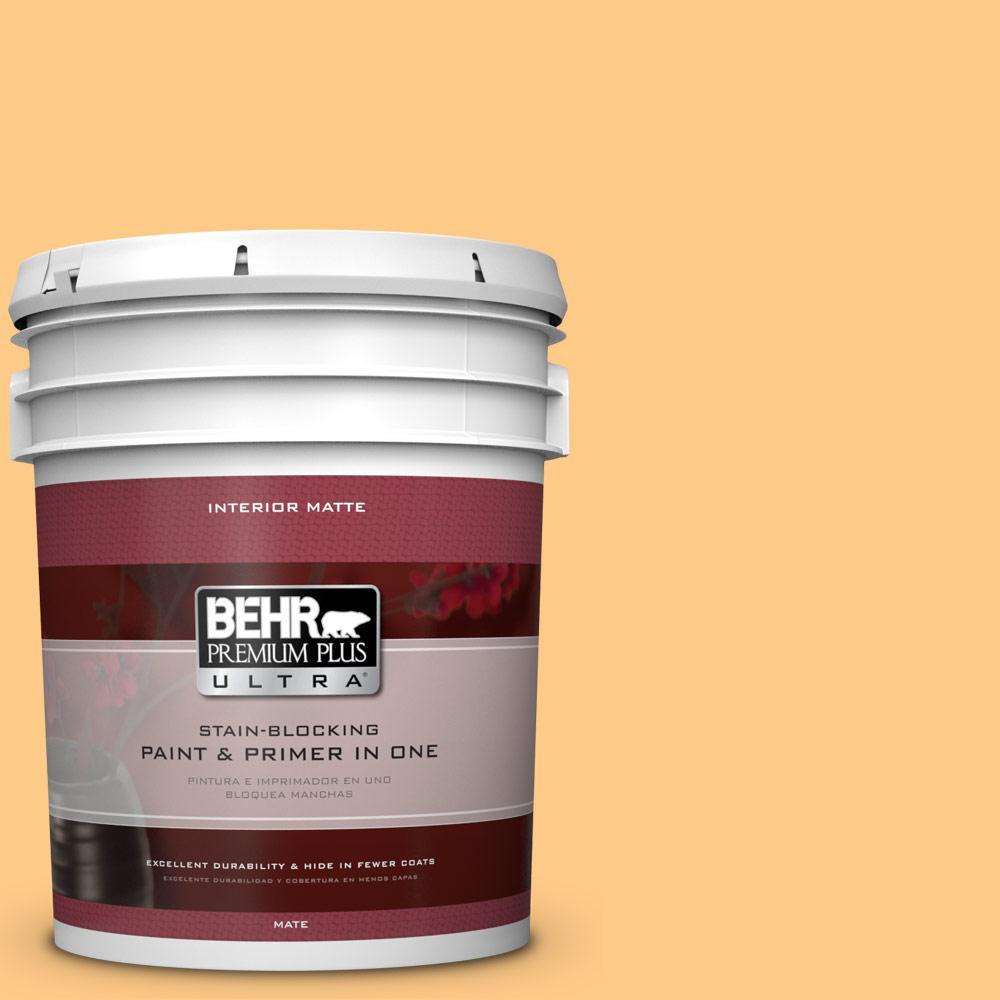 BEHR Premium Plus Ultra 5 gal. #290B-5 Torchlight Flat/Matte Interior Paint