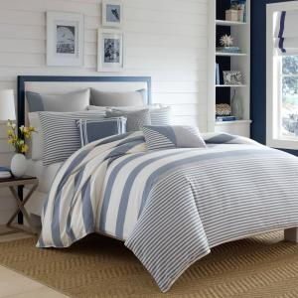 Fairwater 3-Piece Blue Striped Cotton Full/Queen Comforter Set