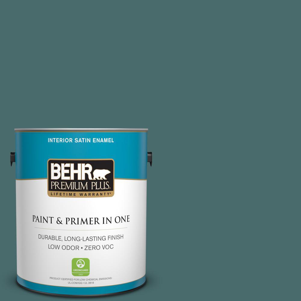 1 gal. #PPU12-02 Sequoia Lake Zero VOC Satin Enamel Interior Paint