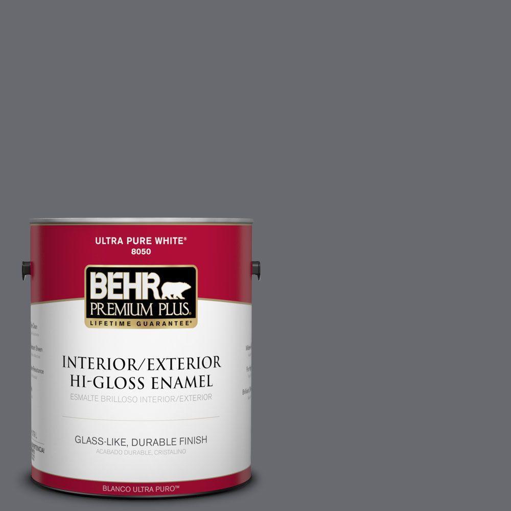 1 gal. #T16-15 Charcoal Plum Interior/Exterior Hi-Gloss Enamel Paint