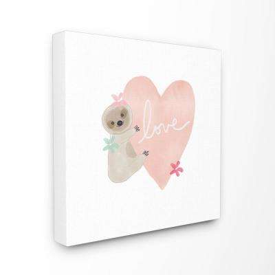 "17 in. x 17 in. ""Pastel Sloth Love Hugging a Pink Heart with Flowers"" by Linda Woods Canvas Wall Art"