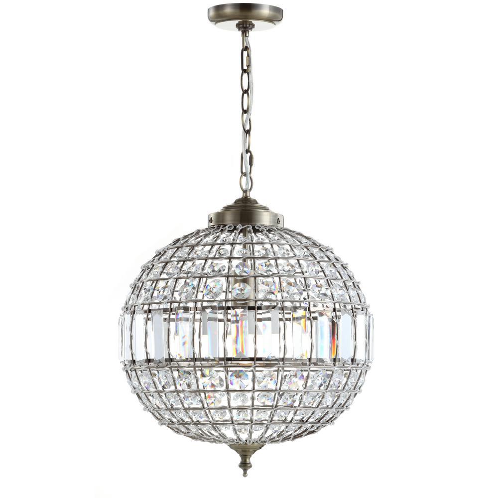Georgina 16 in. 1-Light Antique Brass Crystal/Metal LED Chandelier Pendant