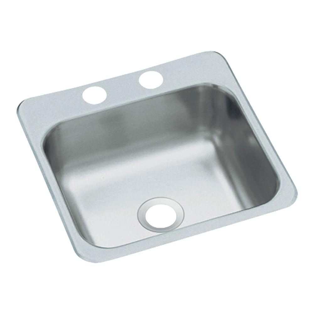 STERLING Drop-In Stainless Steel 15 in. 2-Hole Single Bowl Kitchen Prep Sink