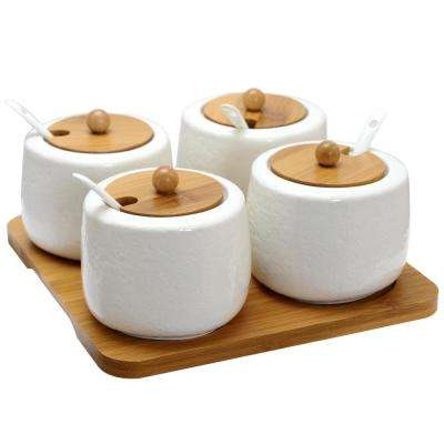 Ceramic Condiment Jars with Bamboo Lids & Serving Spoons