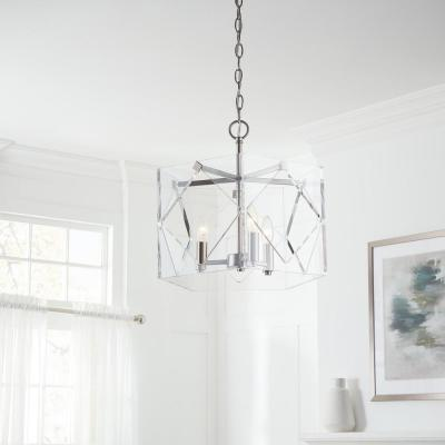 Pentos 3-Light Brushed Nickel Acrylic Chandelier