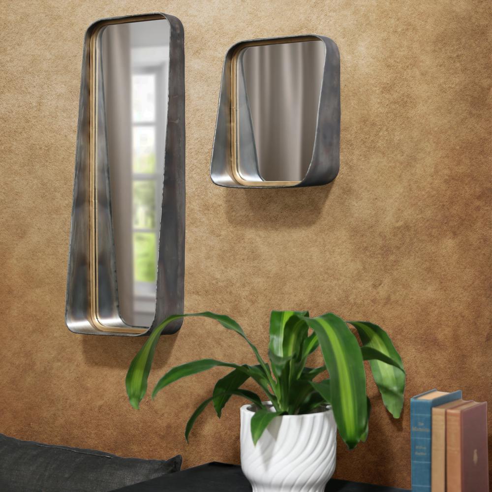 Rectangular Gray Tarnished Wall Mirror