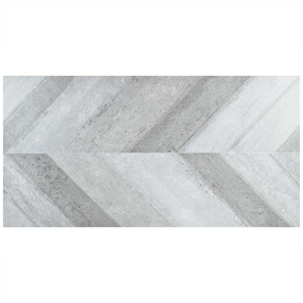 Merola Tile Stratos Chevron Gris 17-5/8 in. x 35-3/8 in. Porcelain Floor and Wall Tile (4 cases / 53.07 sq. ft. / pallet)