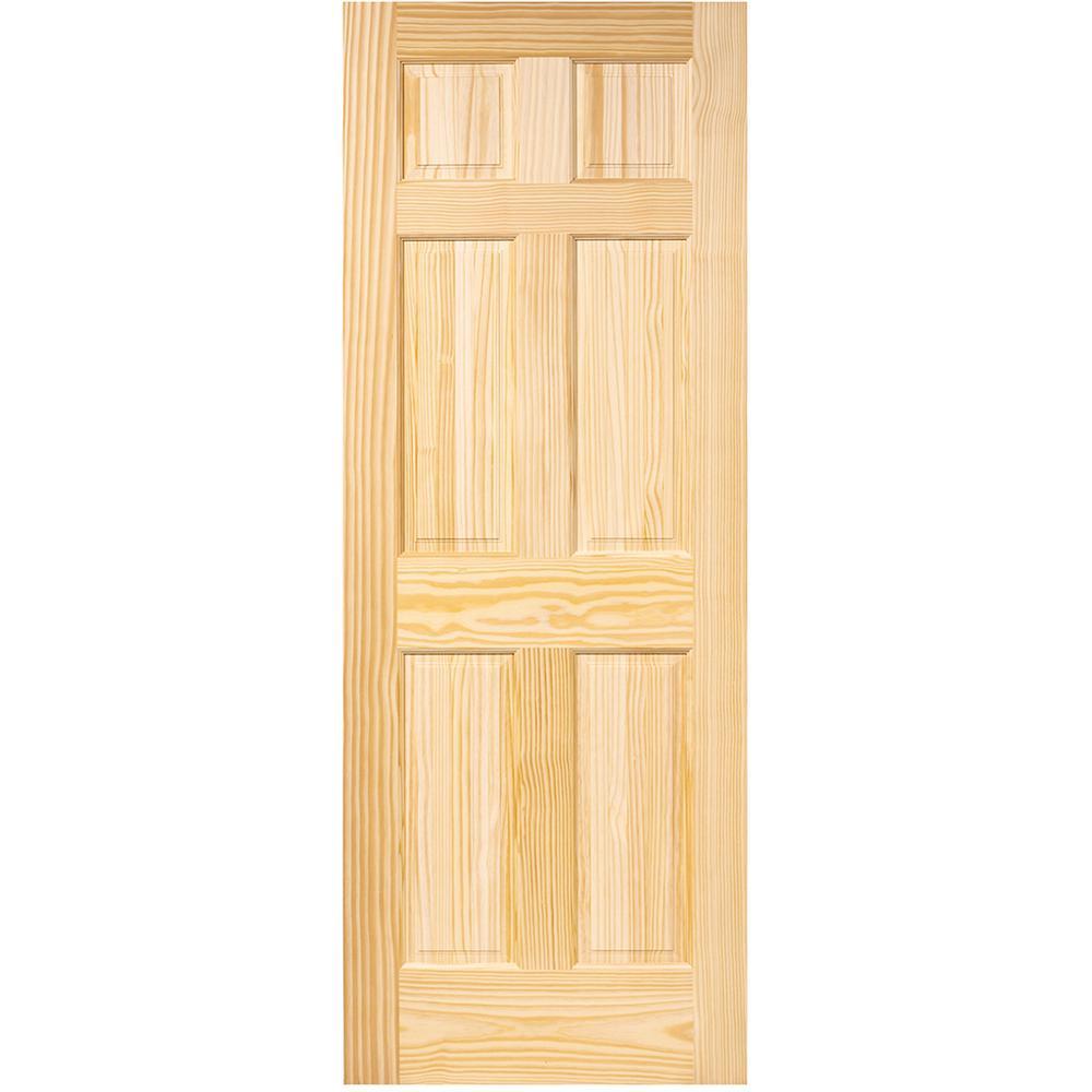 36 in. x 96 in. 6-Panel Pine Unfinished Solid Core Interior Door Slab