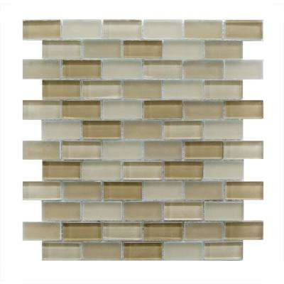 Beige Taupe Mosaic 1 in. x 2 in. Blend Glass Mesh Mounted Decorative Bathroom Wall and Floor Tile (0.96 Sq. ft.)
