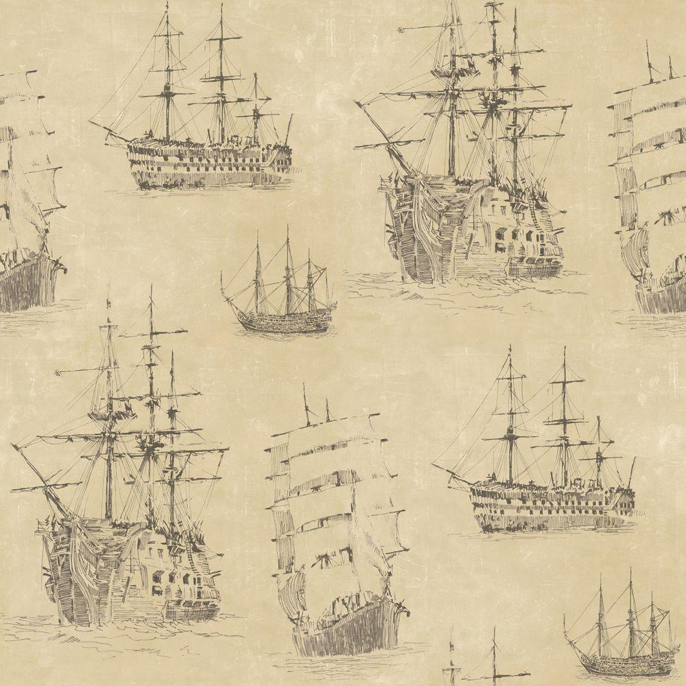 The Wallpaper Company 56 sq. ft. Neutral Nautical Ships Wallpaper