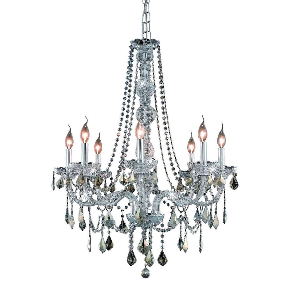 Elegant Lighting 8-Light Chrome Chandelier with Golden Teak Smoky Crystal