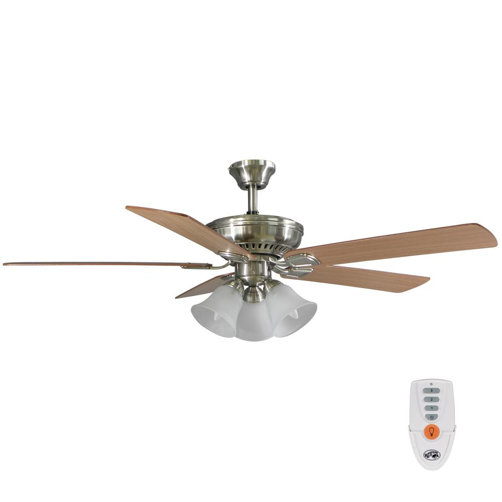 Campbell 52 in. LED Brushed Nickel Ceiling Fan with Light Kit