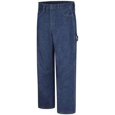 EXCEL FR Men's 40 in. x 34 in. Blue Denim Pre-washed Denim Dungaree