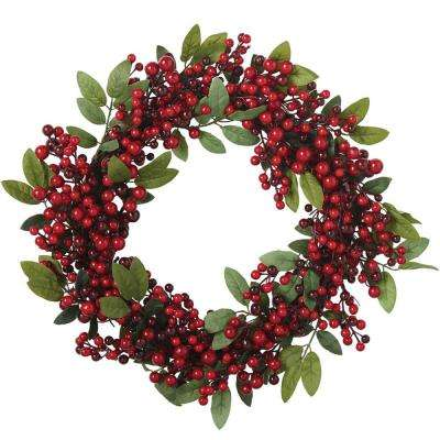 22 in. Red Berry Sprig Wreath