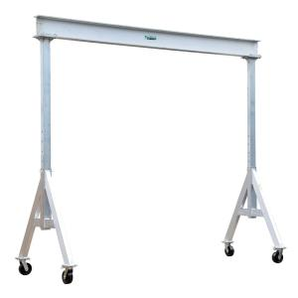 Click here to buy Vestil 6,000 lb. 10 ft. x 12 ft. Adjustable Aluminum Gantry Crane by Vestil.