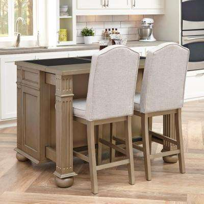 Visions 24 in. Silver Gold Champagne Cushioned Bar Stool
