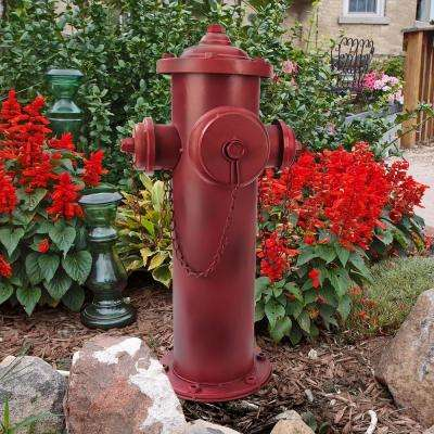 23 in. H Vintage Metal Fire Hydrant Large Statue