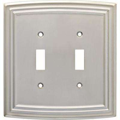 Emery Decorative Double Light Switch Cover, Satin Nickel