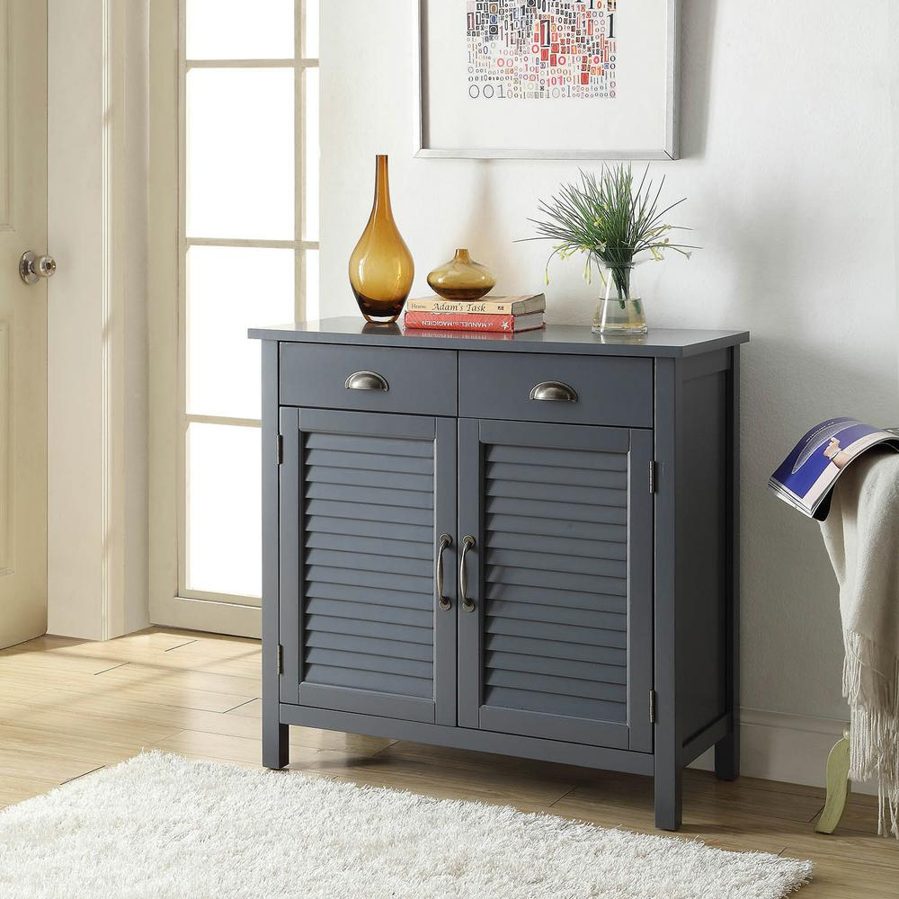 Olivia 2-Drawers Grey Accent Cabinet 2-Shutter Doors