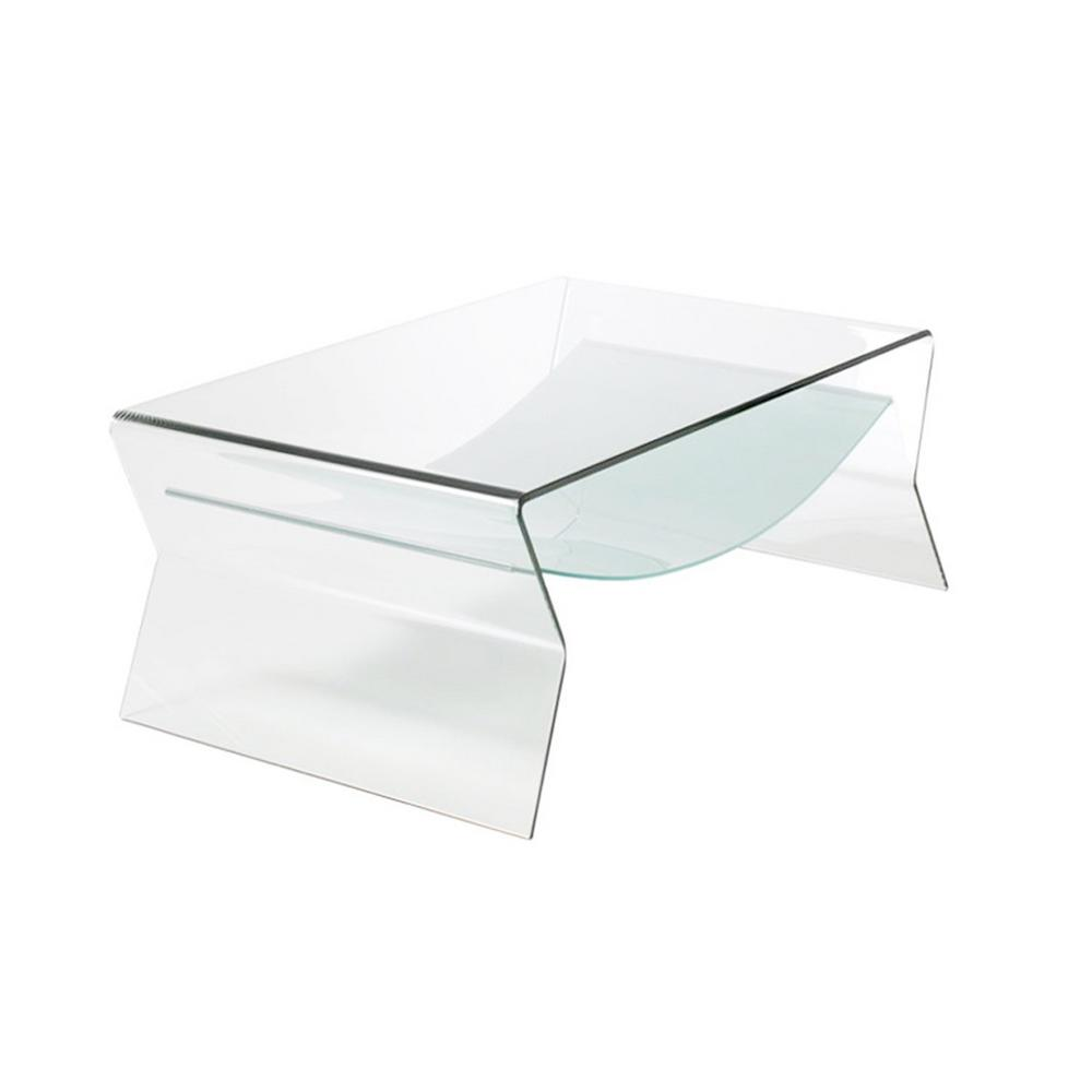 High Quality Thick Bent Glass Side Table With Shelf