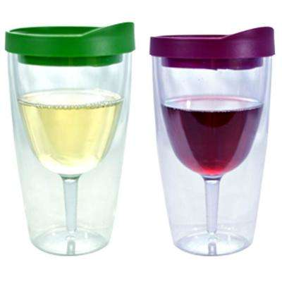 2-Piece Merlot and Verde Double Wall Acrylic Insulated Wine Tumbler Set