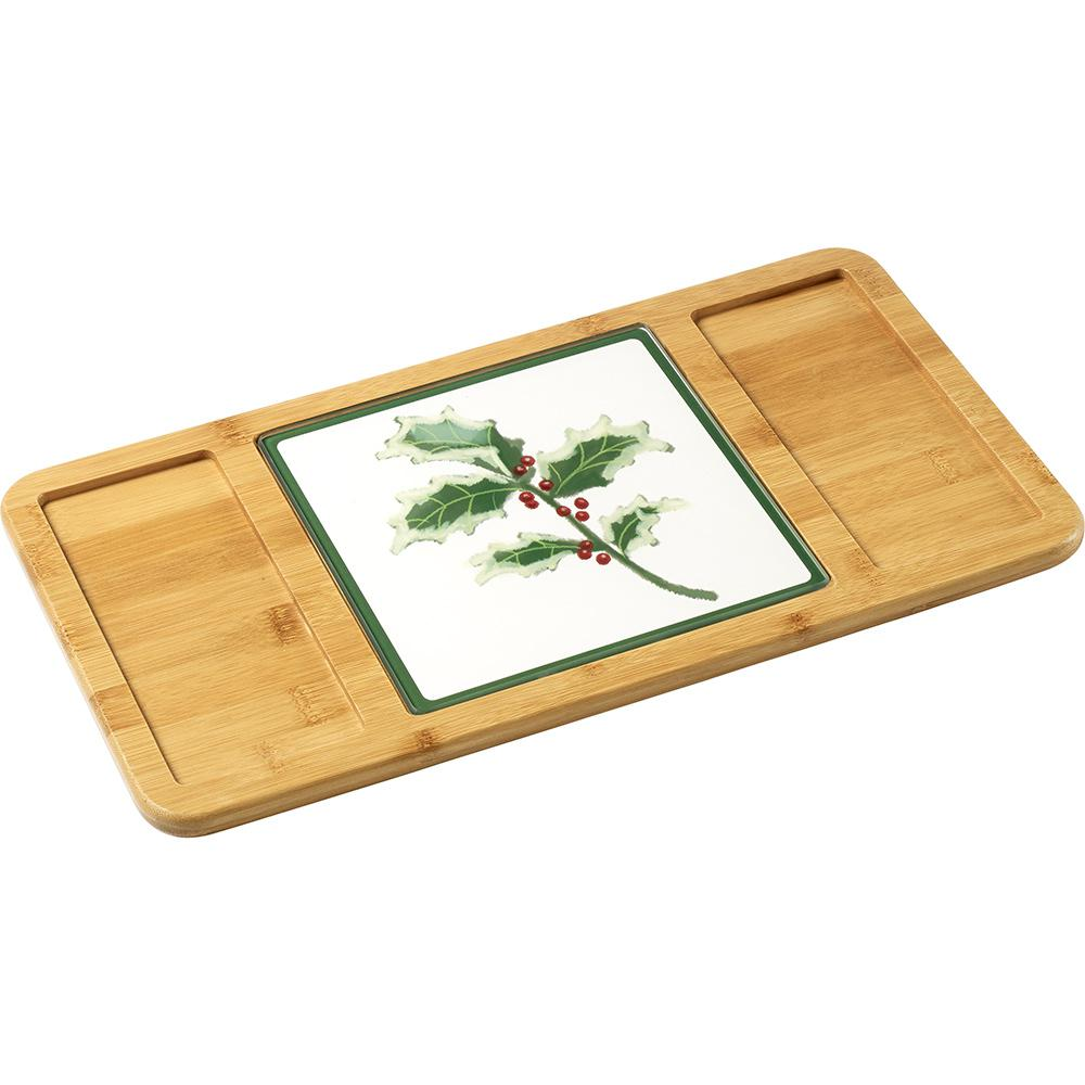 2-Piece Bamboo/Glass Serving and Cutting Board with Glass Holly Inset