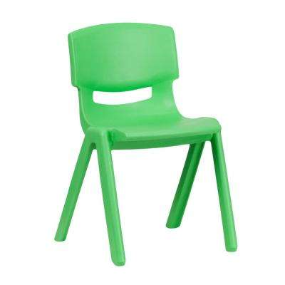 Green Plastic Stackable School Chair with 13.25 in. Seat Height