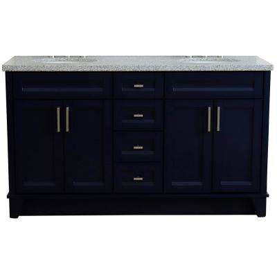 61 in. W x 22 in. D Double Bath Vanity in Blue with Granite Vanity Top in Gray with White Oval Basins