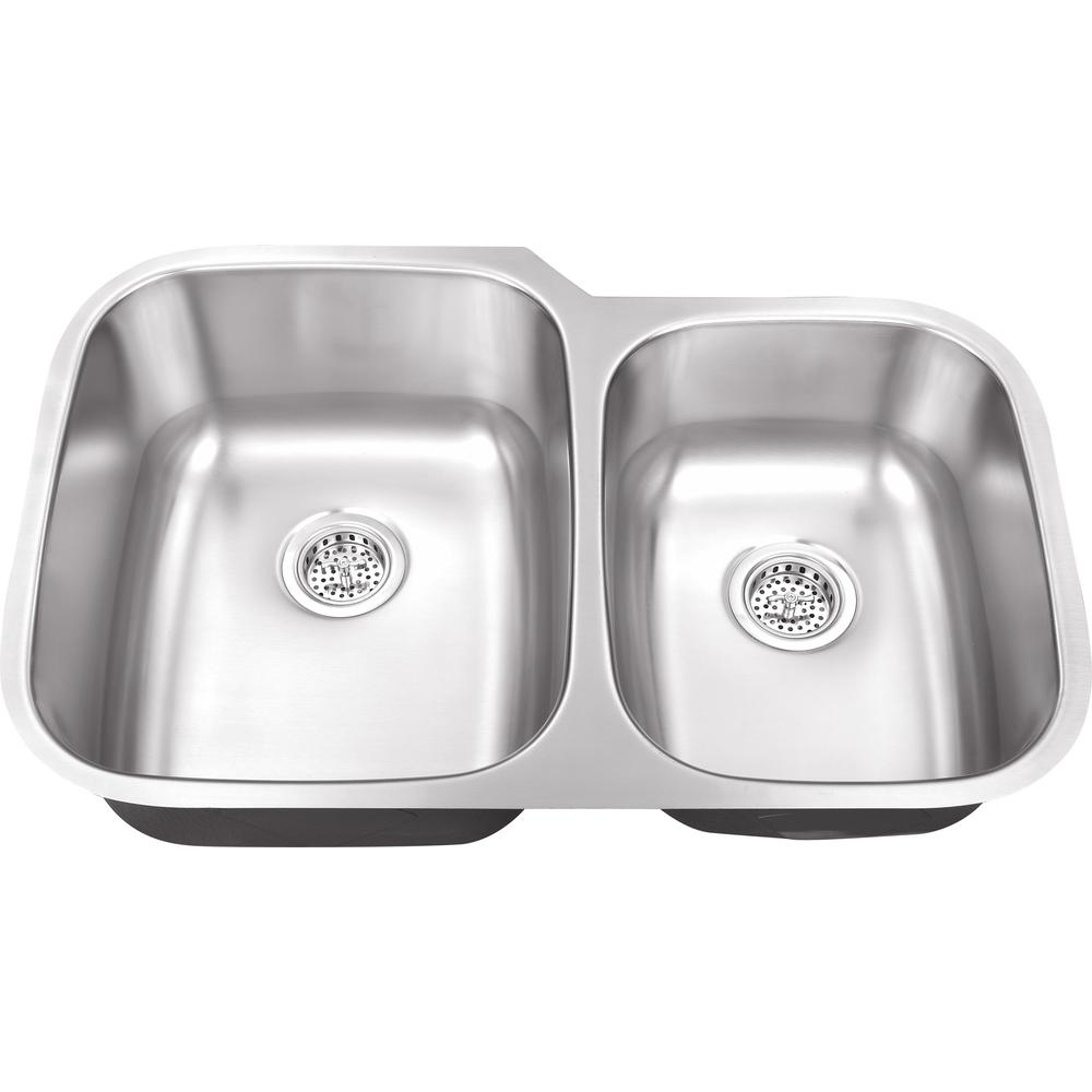 ipt sink company undermount 32 in  16 gauge stainless steel kitchen sink in brushed stainless iptlx6040   the home depot ipt sink company undermount 32 in  16 gauge stainless steel      rh   homedepot com