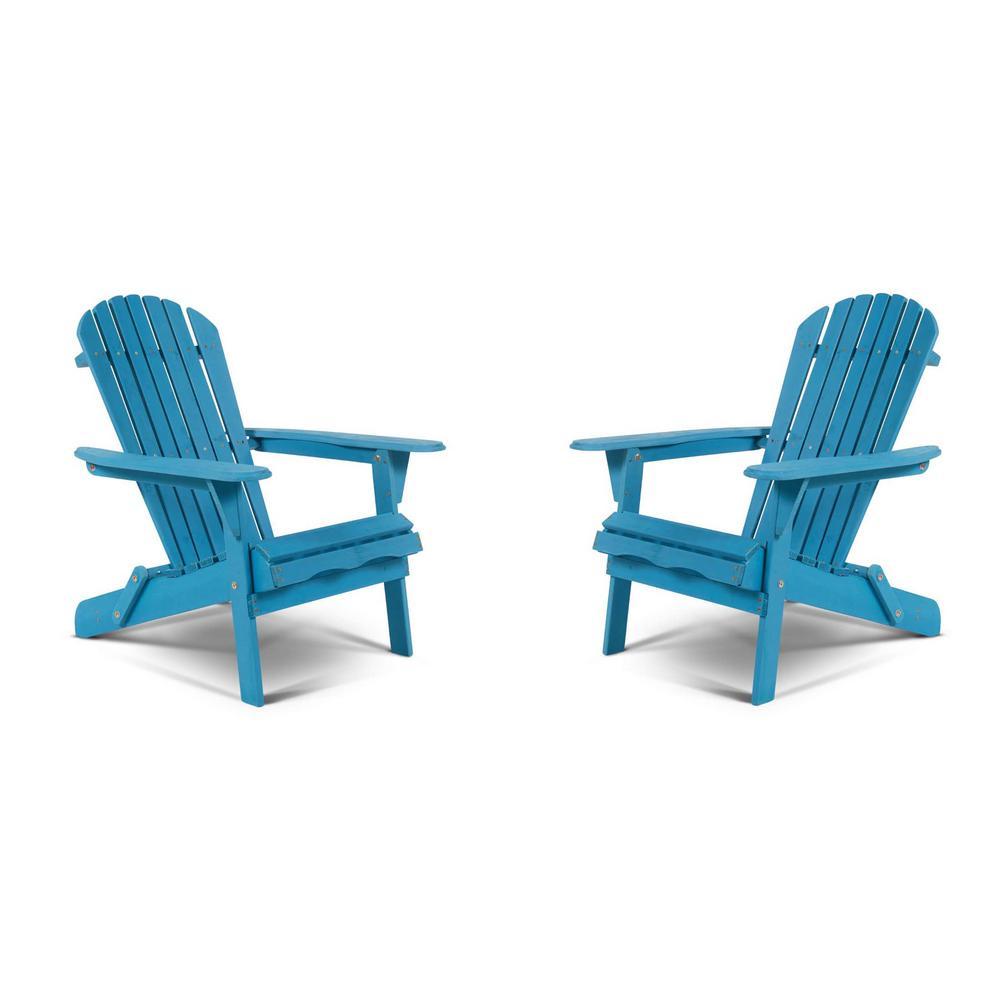 Classic Sky Blue Folding Wood Adirondack Chair (2-Pack)