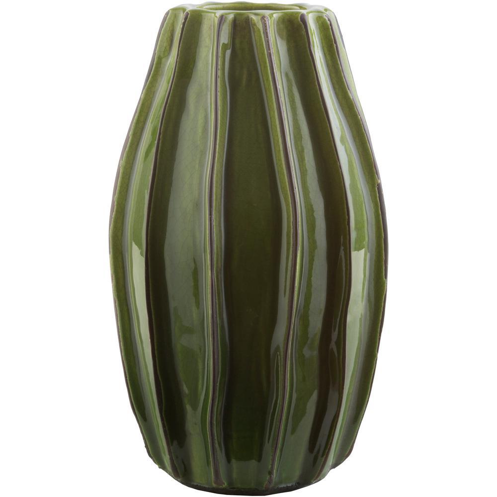 Losarala 14.76 in. Green Ceramic Decorative Vase