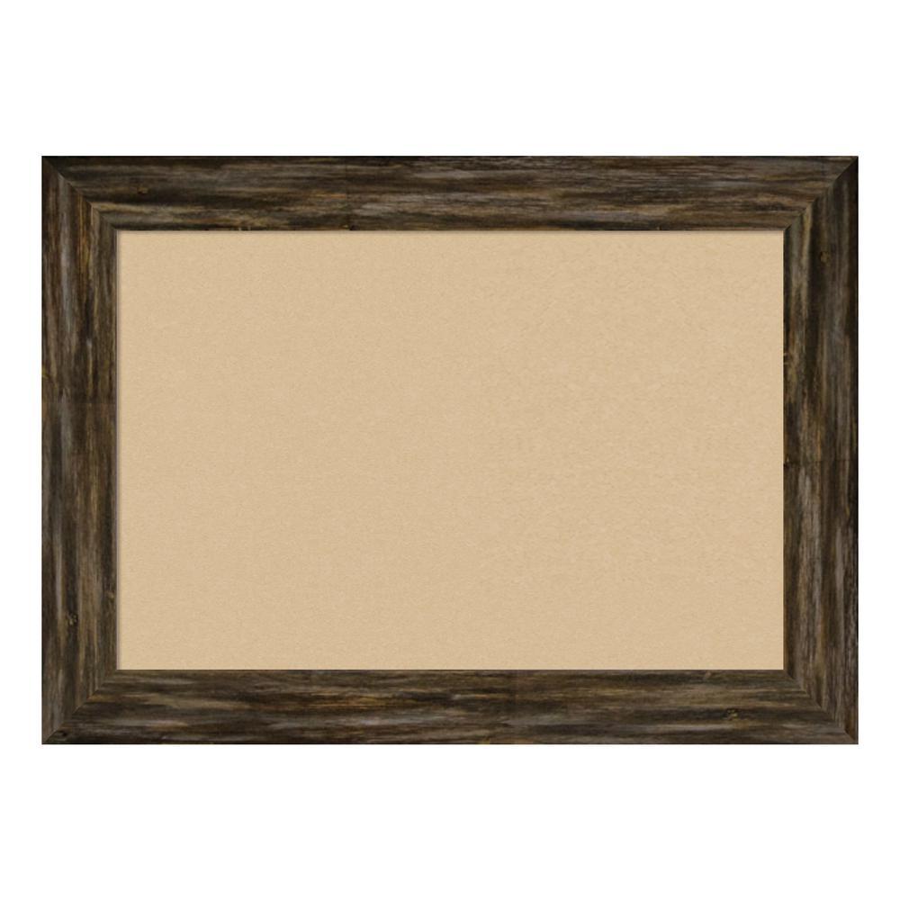Fencepost Brown Narrow Framed Beige Cork Memo Board