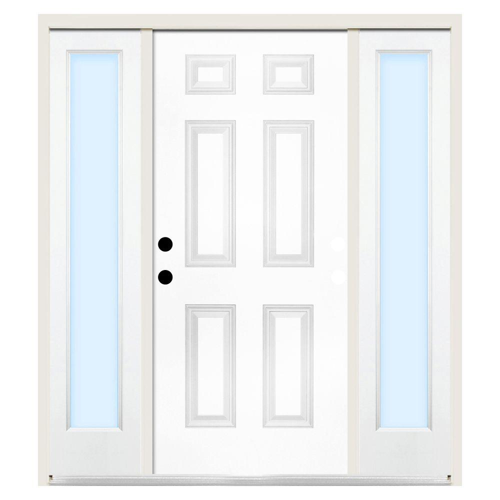 Steves & Sons 68 in. x 80 in. 6-Panel Right-Hand Primed Steel Prehung Front Door w/ 14 in. Clear Glass Sidelite and 6 in. Wall