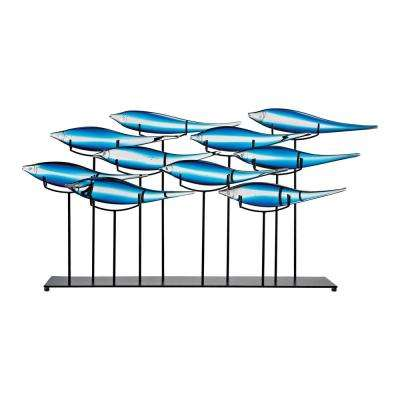 Tultui Ice Blue 22 in. Large Glass and Metal Table Art