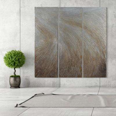 "60 in. x 20 in. ""Gold Waves"" - Set of 3 Textured Metallic Hand Painted by Martin Edwards Wall Art"